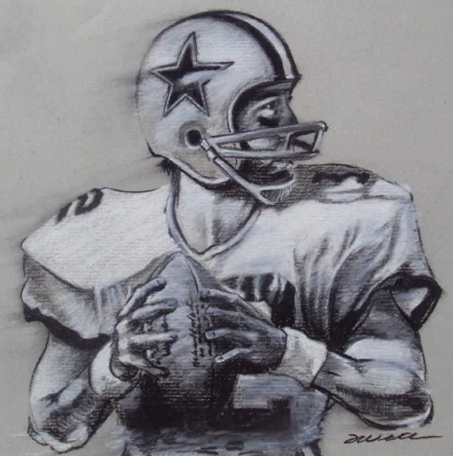 Roger Staubach Drawing - Capitan America by Jim Wetherington