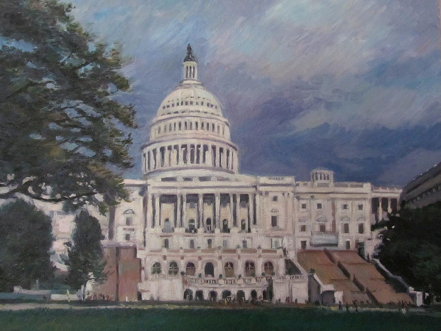 Landscape Painting - Capitol Building by German Zepeda