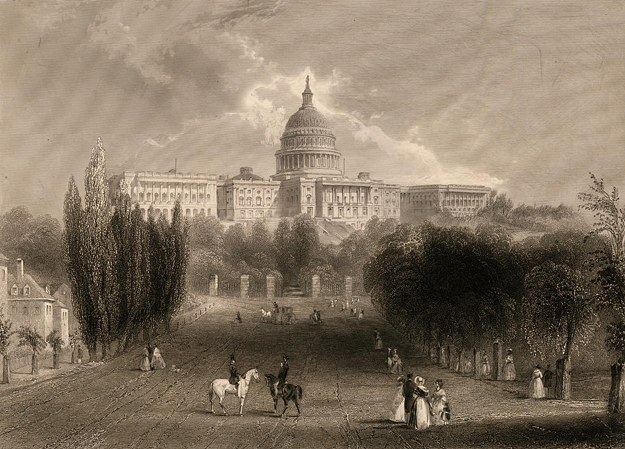 United States Capitol Painting - Capitol Of The Unites States, Washington D C by 19th Century