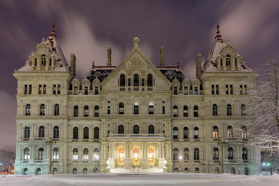 Albany Photograph - Capitol Snow by Brad Wenskoski