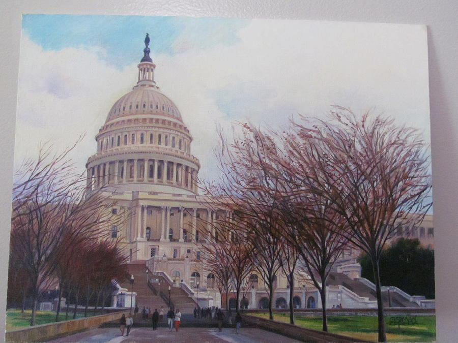 Landscape Painting - Capitol View by German Zepeda