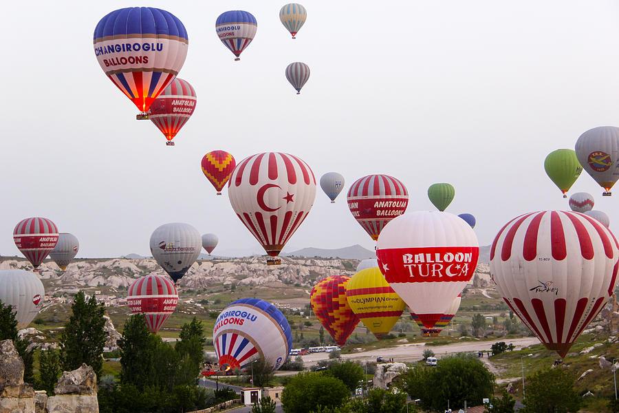 Aerial Photograph - Cappadocia Balloons by Freepassenger By Ozzy CG