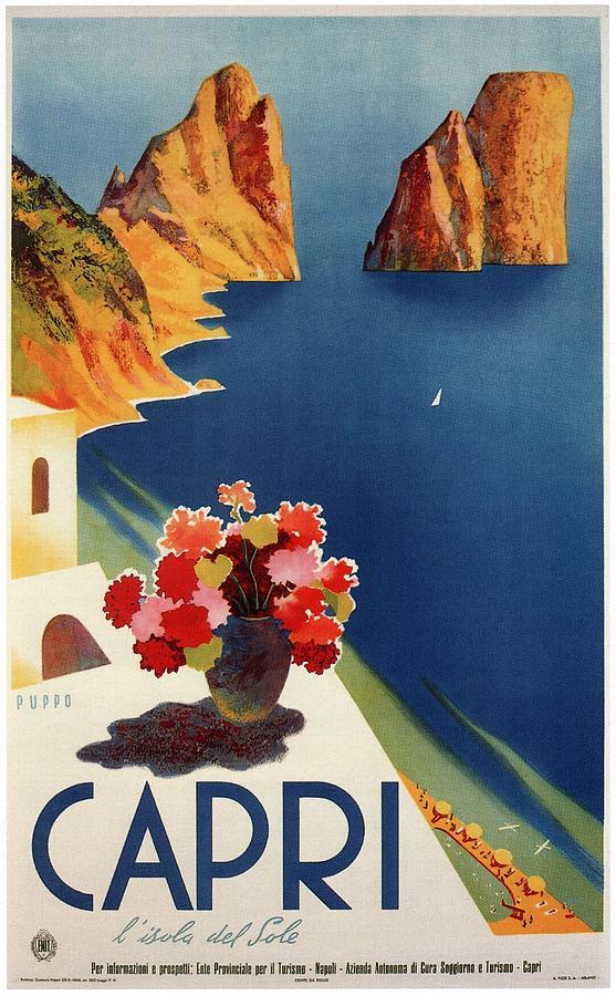 Capri Mixed Media - Capri Island, Bay of Naples, Italy - Retro travel Poster - Vintage Poster by Studio Grafiikka