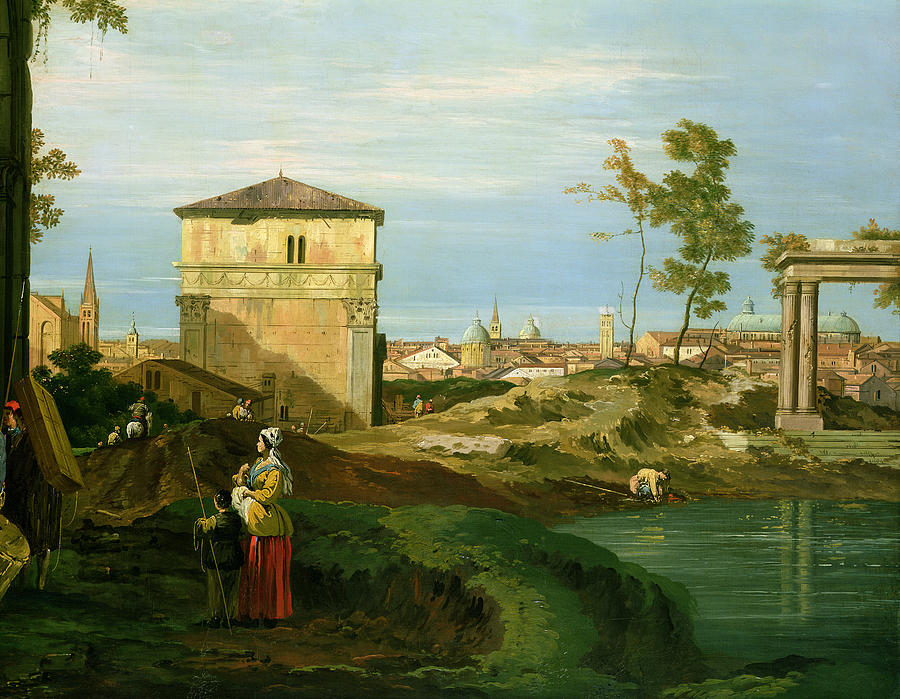Canaletto Painting - Capriccio With Motifs From Padua by Canaletto