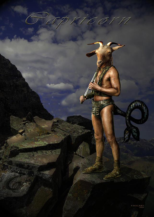 Zodiac Digital Art - Capricorn by Virginia Palomeque