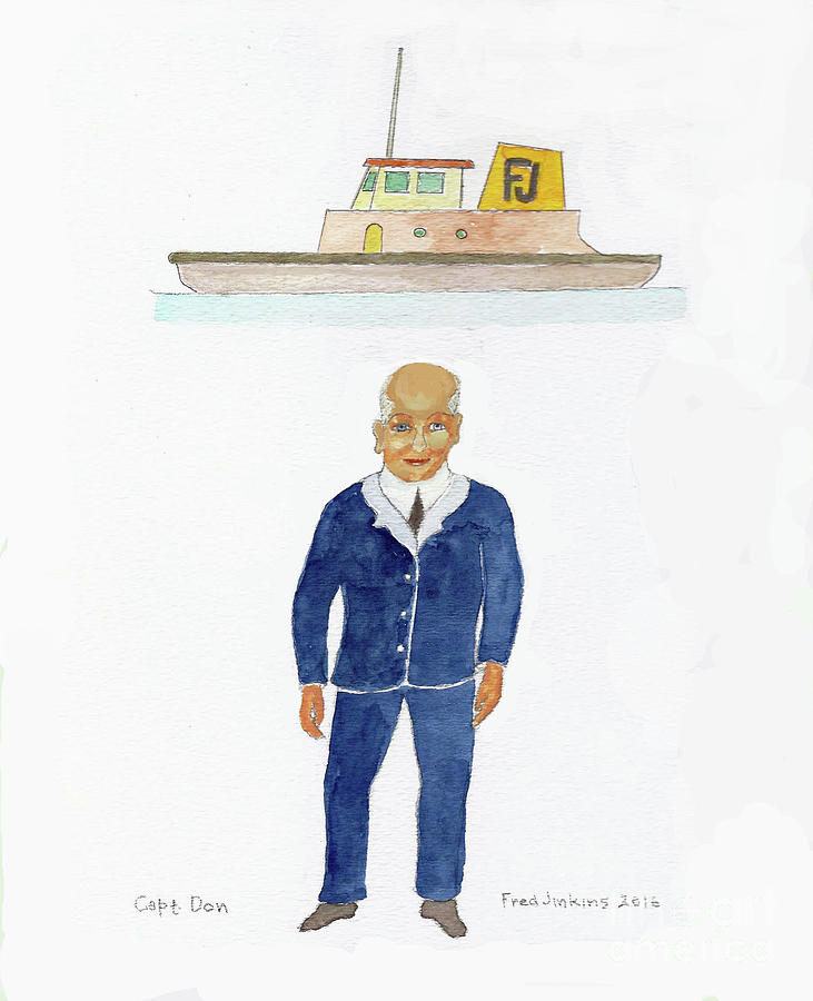 Tugboat Painting - Capt. Don by Fred Jinkins