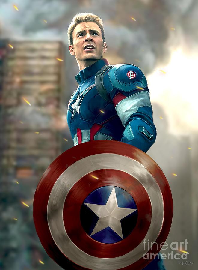 Captain america no helmet painting by paul tagliamonte - Image captain america ...