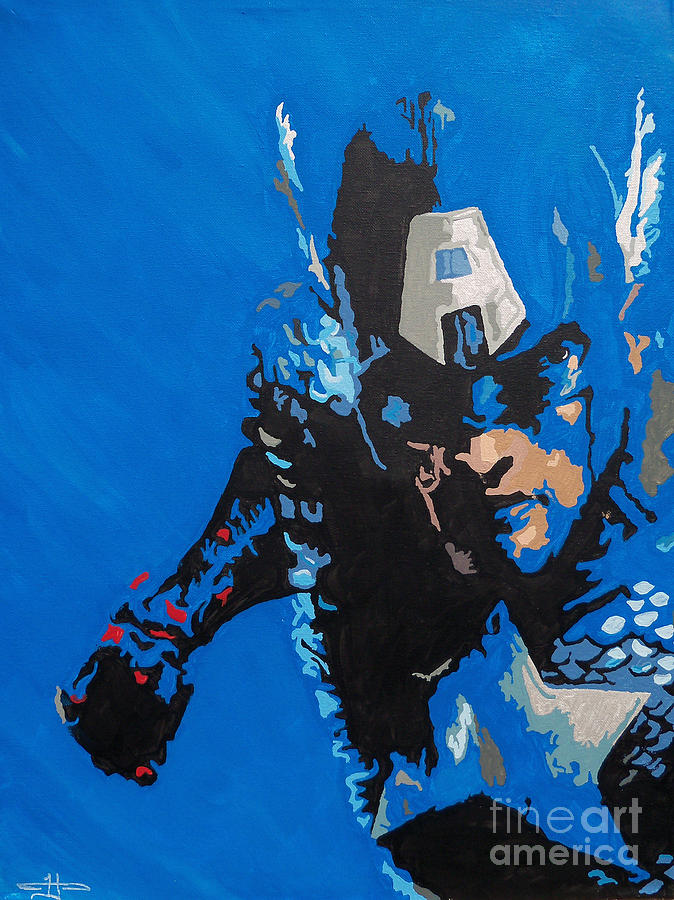 Captain America Painting - Captain America - Out Of The Blue  by Kelly Hartman