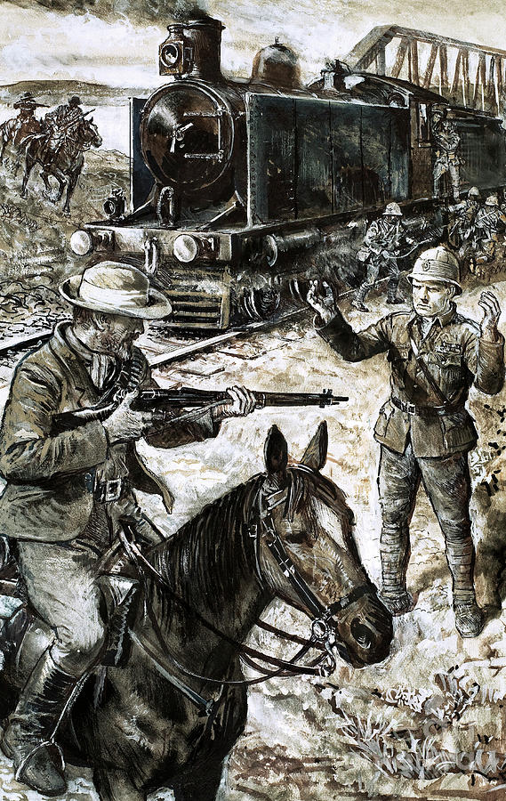 Churchill Painting - Capture Of Winston Churchill During The Boer War by English School
