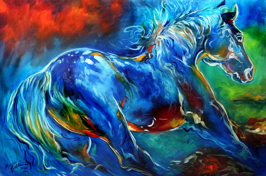 Captured Wild Stallion Painting By Marcia Baldwin