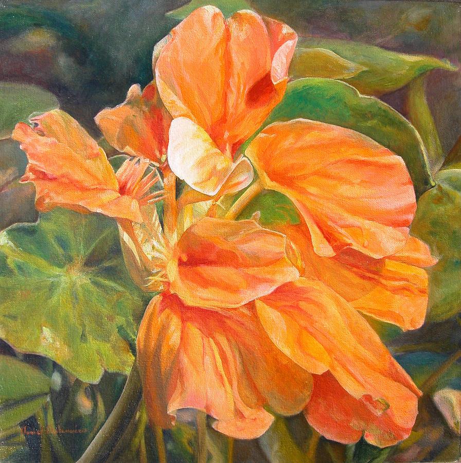 Fleurs Painting - Capucine by Muriel Dolemieux