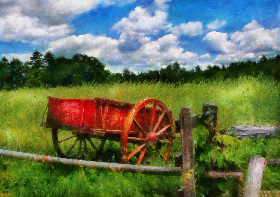 Wagon Photograph - Car - Wagon - The Old Wagon Cart by Mike Savad