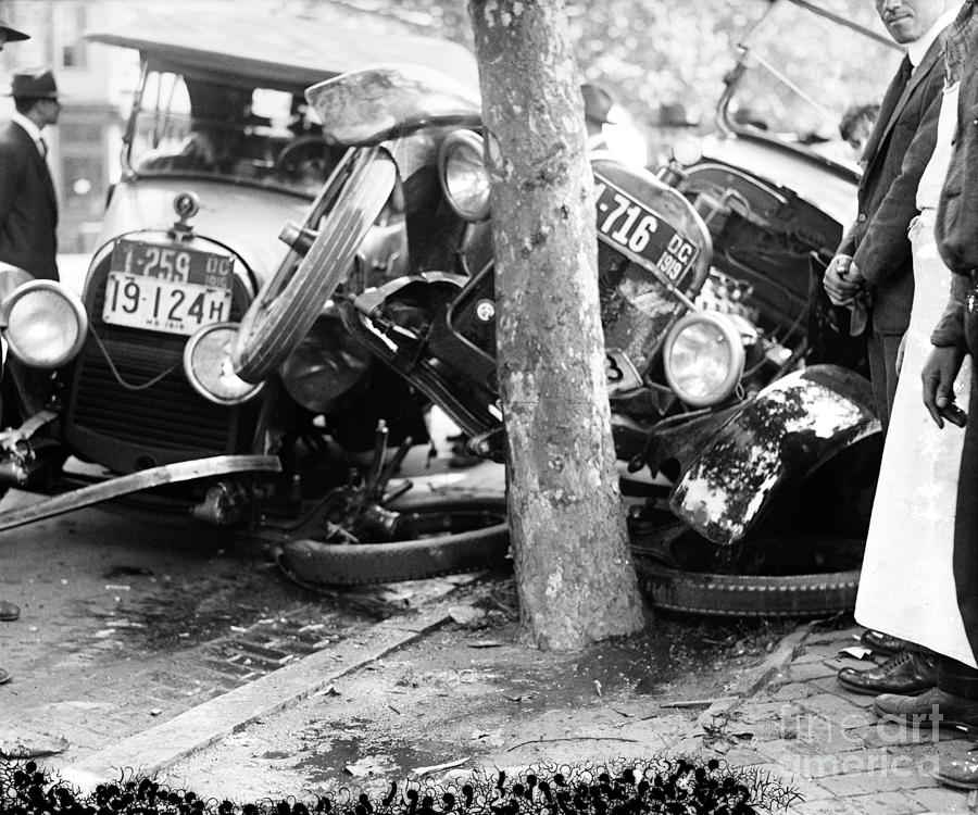1919 Photograph - Car Accident, C1919 by Granger