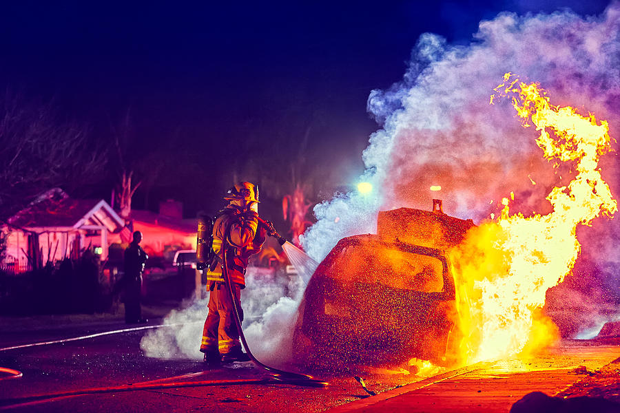 Car On Fire Photograph - Car Arson  by TC Morgan