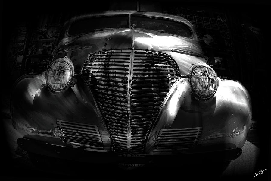 Car Art 1939 in a Bubble BW by Lesa Fine