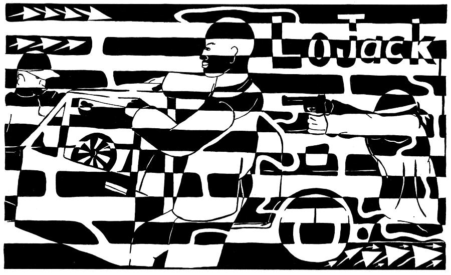 Lojack Drawing - Car-jacking Maze For Lojack Advert by Yonatan Frimer Maze Artist