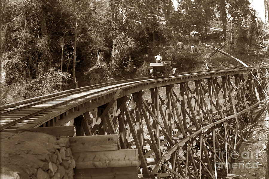 Car Photograph - Car On A Wooden Railroad Trestle Circa 1916 by California Views Archives Mr Pat Hathaway Archives