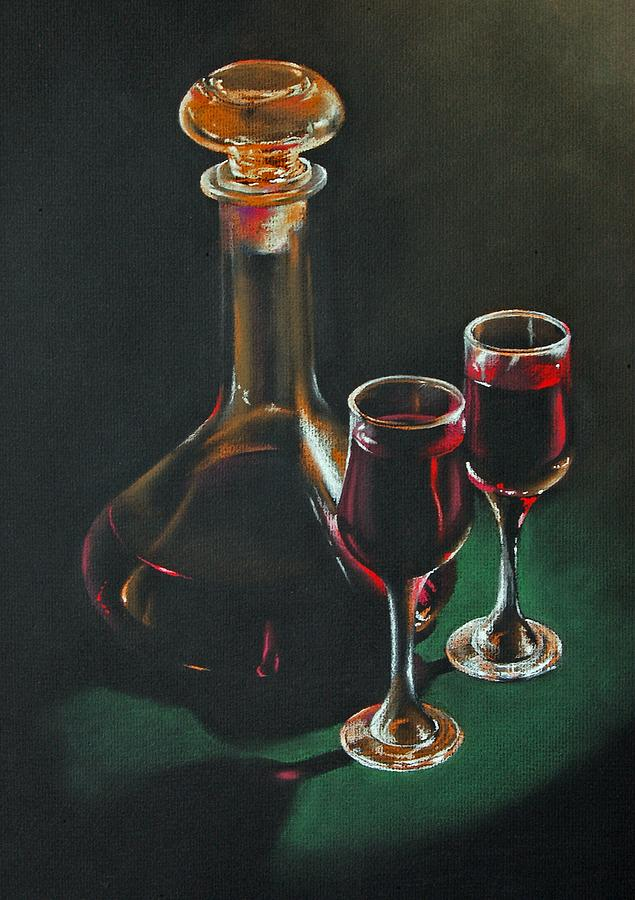 Pastel Painting - Carafe And Glasses by Alan Stevens