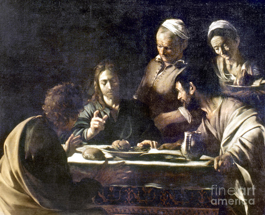 16th Century Painting - Caravaggio: Emmaus by Granger