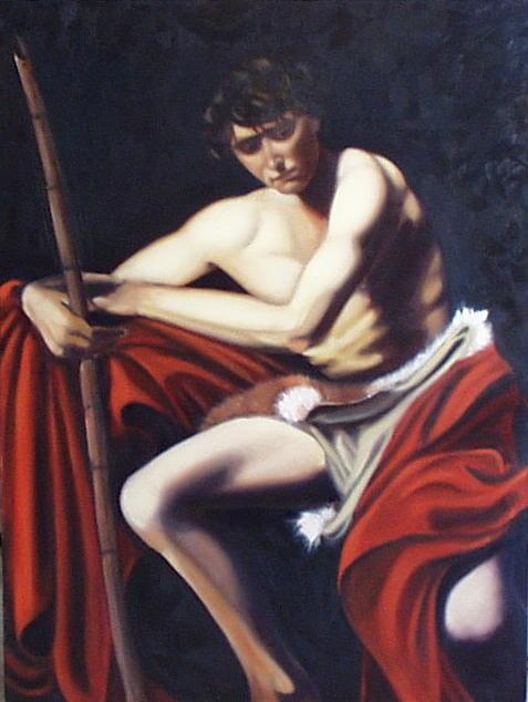 Caravaggio Painting - Caravaggios John the Baptist study by Toni Berry