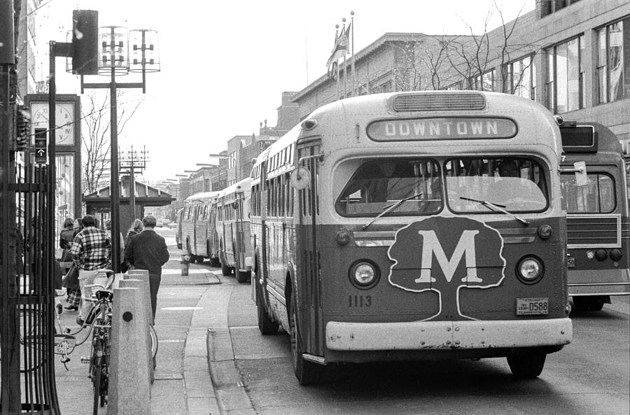 Caravan of Buses on Nicollet Mall by Mike Evangelist
