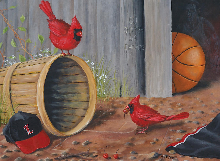 Cardinals Painting - Card Practice by Jeff Conway