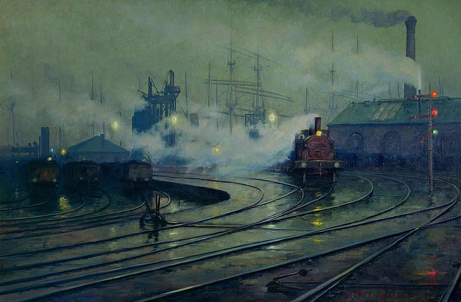 Cardiff Painting - Cardiff Docks by Lionel Walden