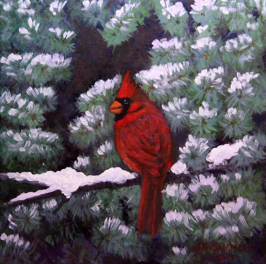 Cardinal and Blue Spruce by Janet Greer Sammons