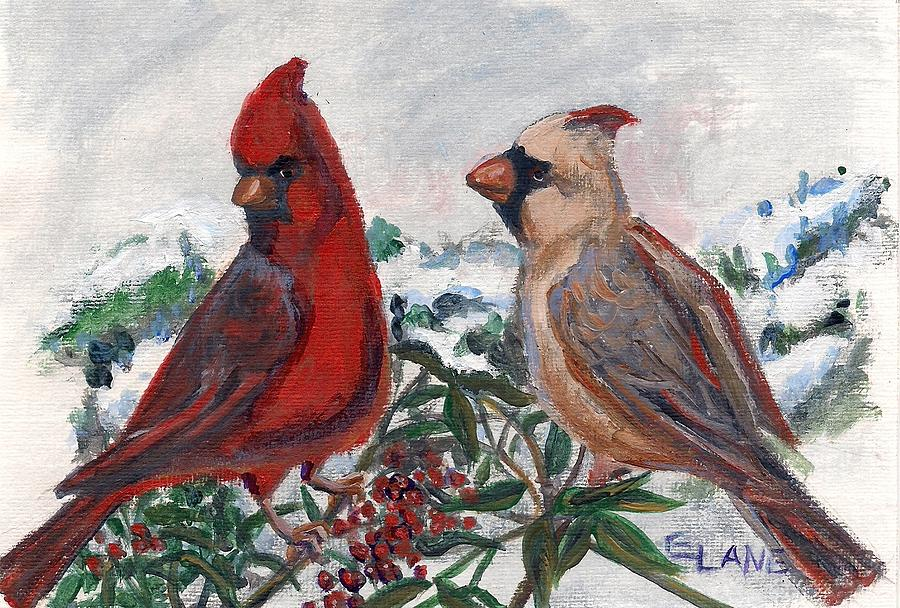 Birds Painting - Cardinal Berries by Elizabeth Lane