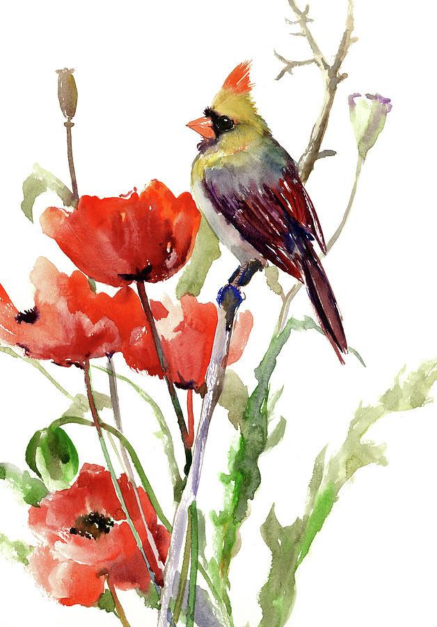 Cardinal Bird And Poppy Flowers Painting By Suren Nersisyan