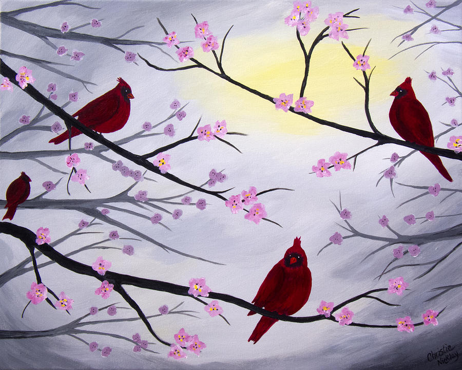 Cardinal Painting - Cardinal Blossoms by Christie Nicklay