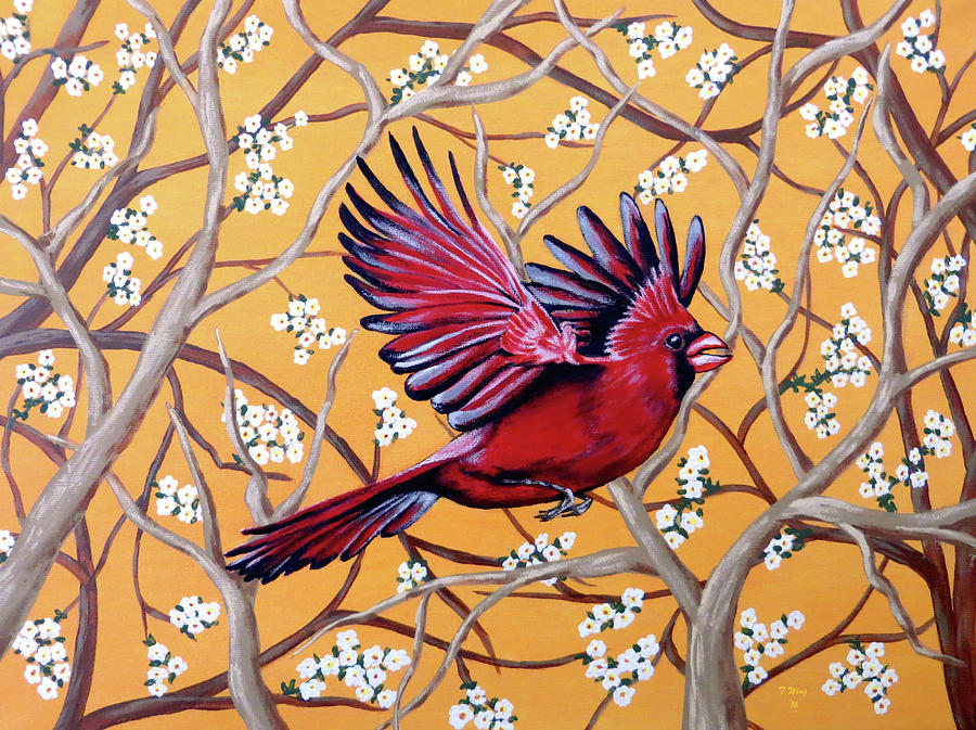 Cardinal in Flight by Teresa Wing