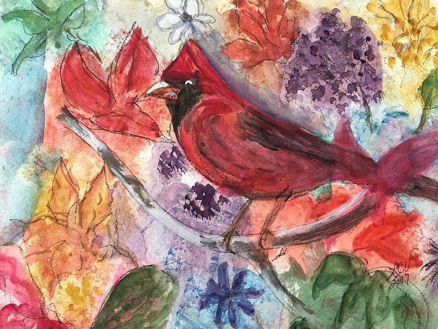 Cardinal in Flowers by Lucille Valentino