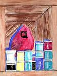 Cardinal Painting - Cardinal In The Spools Cupboard by Suzanne Berton