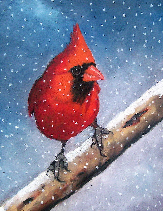 Bird Pastel - Cardinal In Winter by Joyce Geleynse