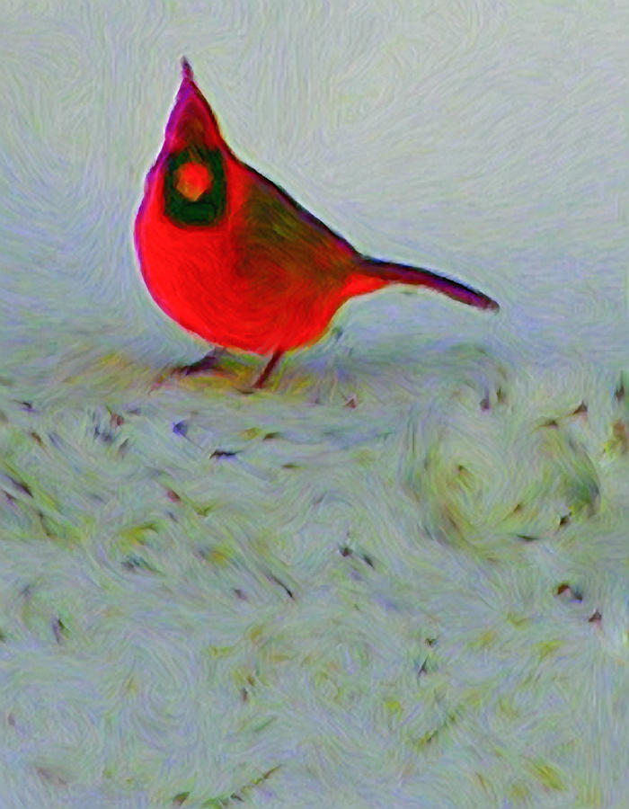 Cardinal In Winter Painting