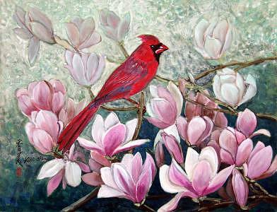 Red Bird Painting - Cardinal by Komi Chen