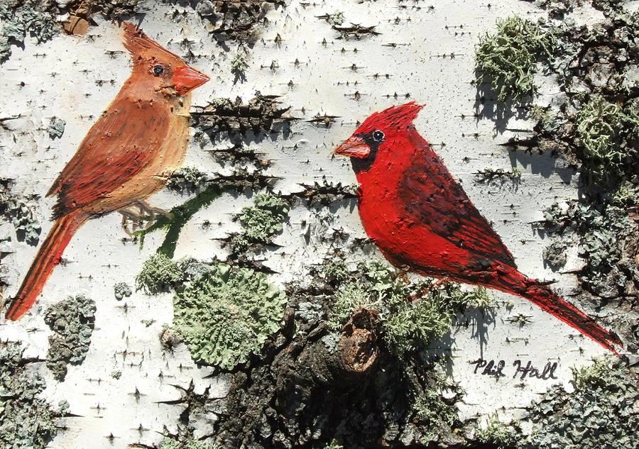 Cardinals Painting - Cardinal Pair II by Philip Hall