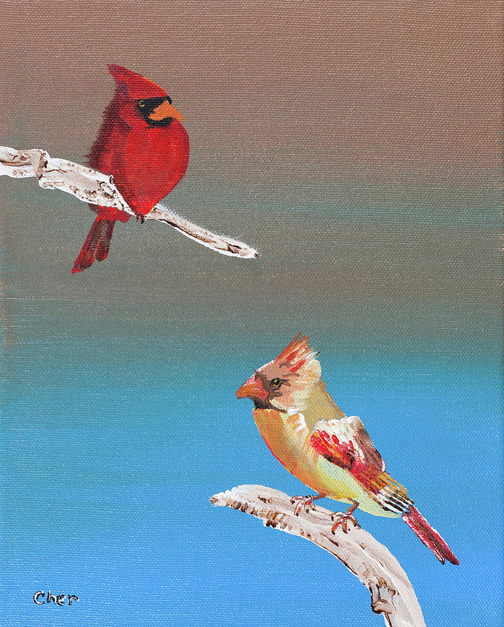 Birds Painting - Cardinals by Cheryl Phillips