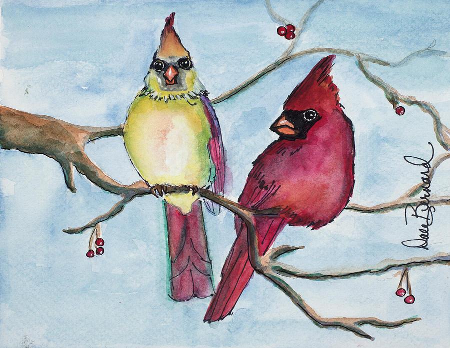 Cardinals Painting - Cardinals by Dale Bernard