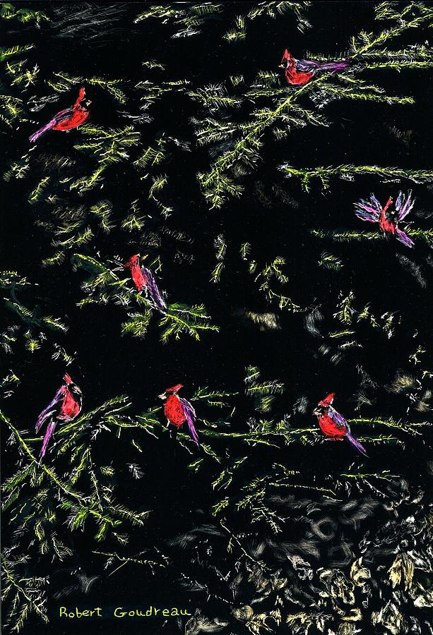Wildlife Painting - Cardinals by Robert Goudreau