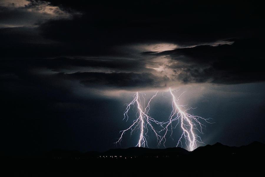 Arizona Photograph - Carefree Lightning by Cathy Franklin