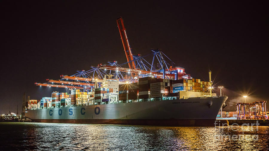 Cargo Ship At Night Photograph