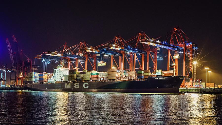 Cargo Ship At Port Of Hamburg Photograph
