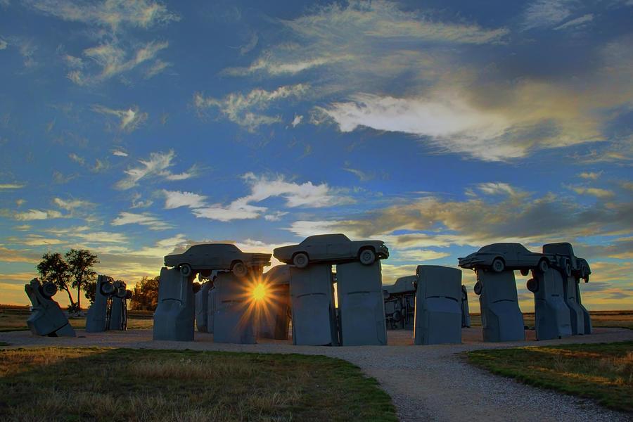 Automotive Photograph - Carhenge - Nebraska - Sunset by Nikolyn McDonald