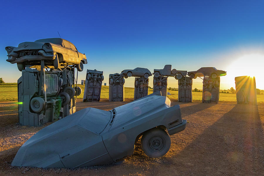 Carhenge Photograph - Carhenge Sunrise by David Brown Eyes