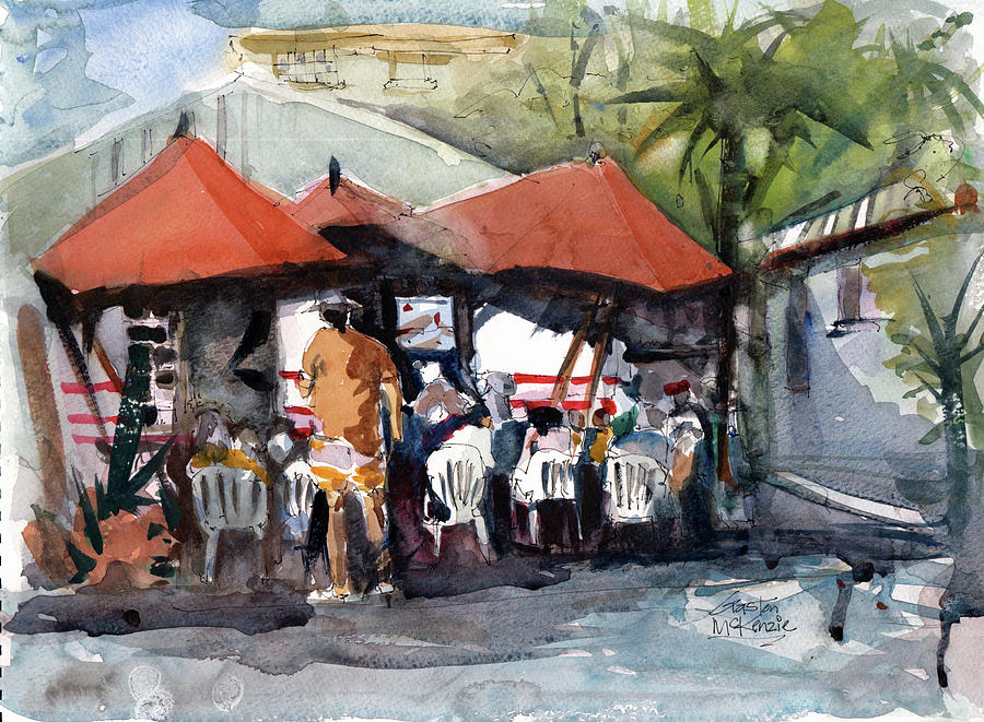 Watercolor Painting - Caribbean Bar-theatre Barbados Style by Gaston McKenzie