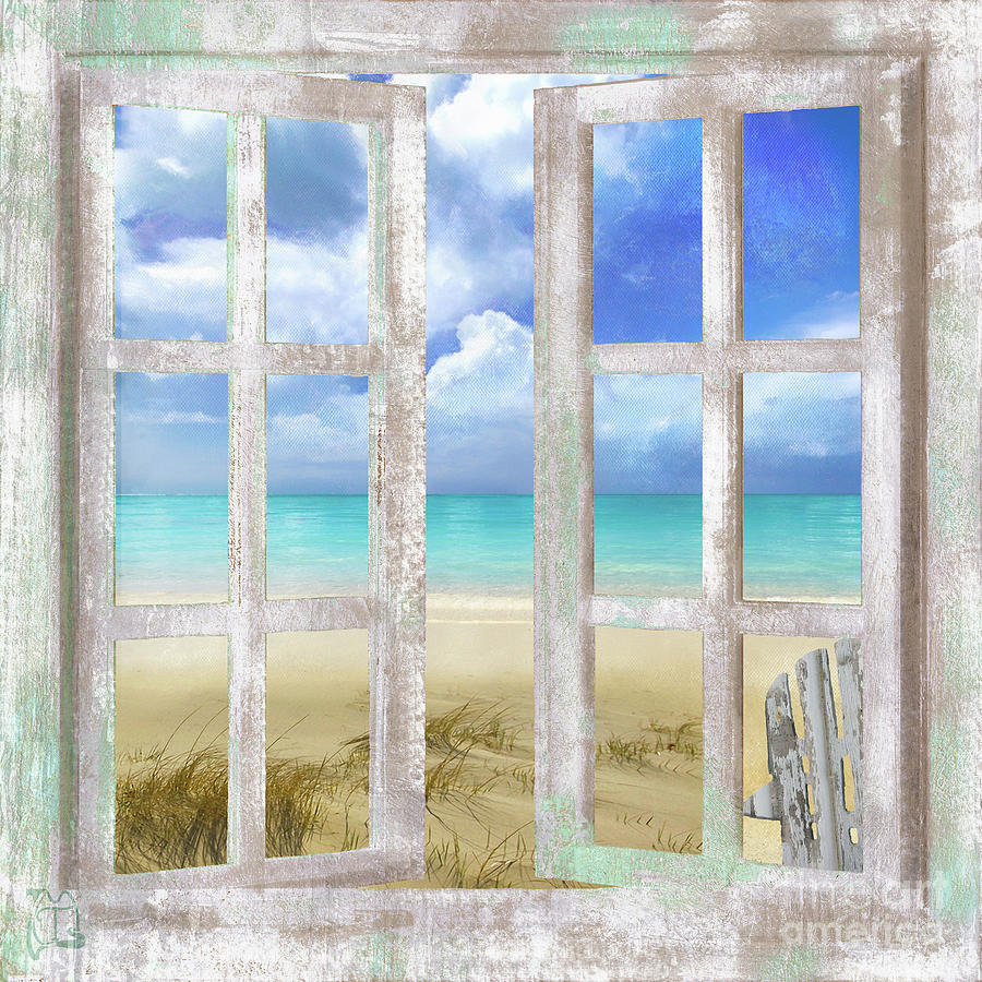 Open window beach - Window Painting Caribbean Cottage Tropical Beach House Window Coastal Art By Tina Lavoie