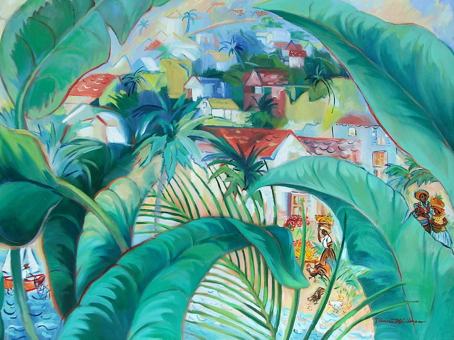 Palms Painting - Caribbean Fantasy by Dianna Willman