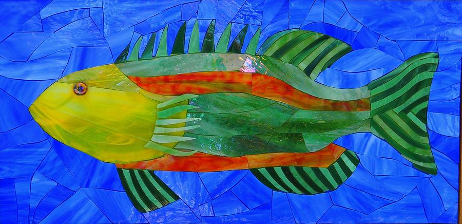 Art Glass Mosaic Glass Art - Caribbean Grouper by Charles McDonell